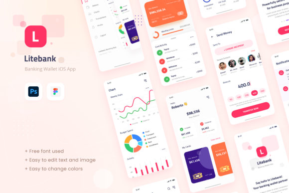 Print on Demand: Litebank - Banking Wallet IOS App Design Graphic UX and UI Kits By peterdraw