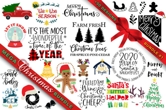 Print on Demand: MEGA Christmas SVG Bundle 1 Graphic Crafts By freelingdesignhouse