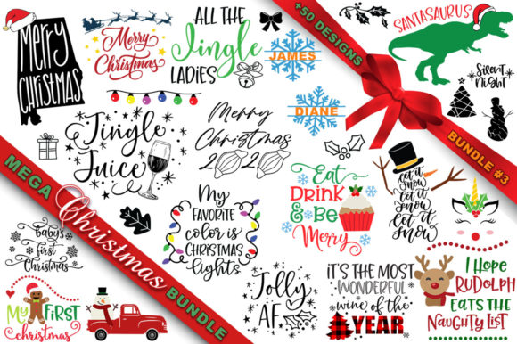 Print on Demand: MEGA Christmas SVG Bundle 3 Graphic Crafts By freelingdesignhouse