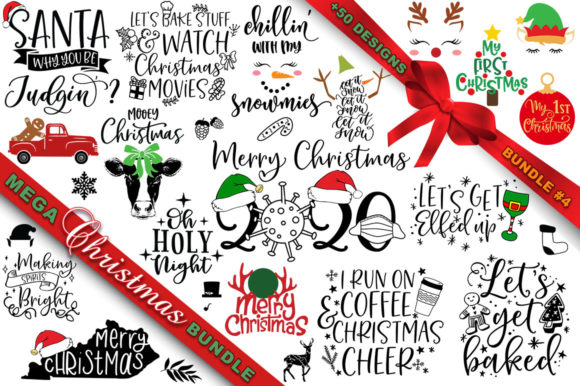 Print on Demand: MEGA Christmas SVG Bundle 4 Grafik Plotterdateien von freelingdesignhouse