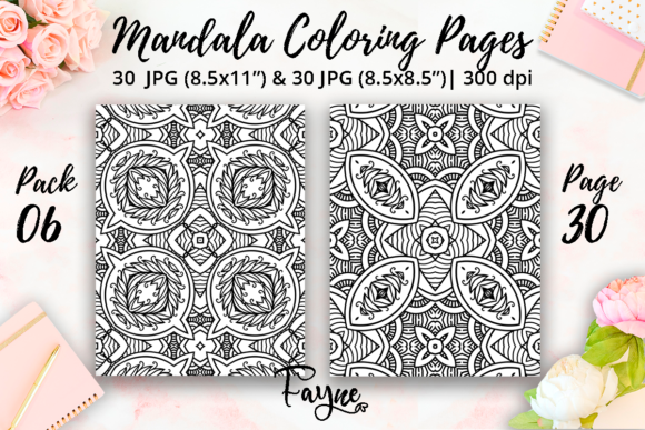 Print on Demand: Mandala Coloring Pages Pack 06 Graphic Coloring Pages & Books Adults By Fayne