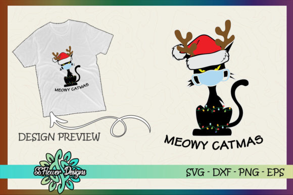 Meowy Catmas Christmask Funny Cat Santa Graphic Print Templates By ssflower