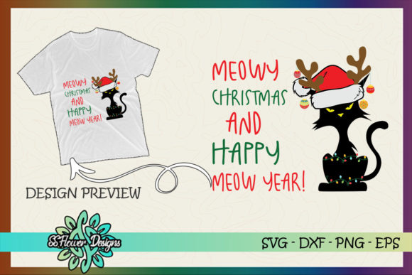 Meowy Christmas and Happy Meow Year Graphic Print Templates By ssflower