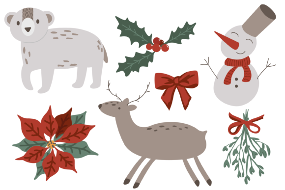 Merry Christmas with Poinsettia Graphic Objects By CuteShopClipArt