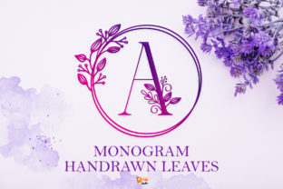 Print on Demand: Monogram Handrawn Leaves Decorative Font By dmletter31