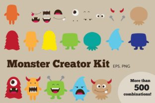 Monster Creator Kit Clipart Graphic Illustrations By peachycottoncandy