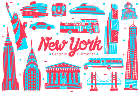 New York Landmark Graphic Elements Graphic Illustrations By medzcreative