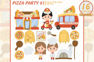 Pizza Party Clipart, Cute Pizzeria Art Graphic Illustrations By clipartfables