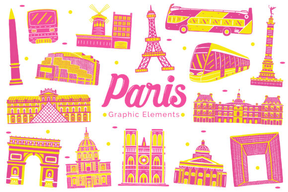 Paris Landmark Graphic Elements Graphic Illustrations By medzcreative