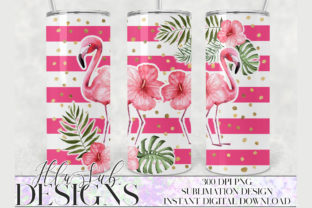 Pink Flamingo Tumbler Wrap Tapered Graphic Illustrations By sublimationandmore