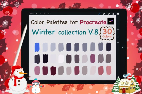 Procreate Color Palettes-Winter V8 Graphic Add-ons By jennythip
