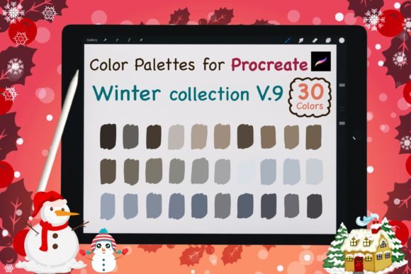 Procreate Color Palettes-Winter V9 Graphic Add-ons By jennythip