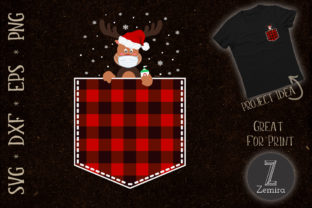 Print on Demand: Red Plaid Reindeer in Pocket Christmas Graphic Print Templates By Zemira