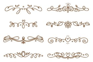 Set of Swirly Decorative Dividers Graphic Illustrations By Big Barn Doodles