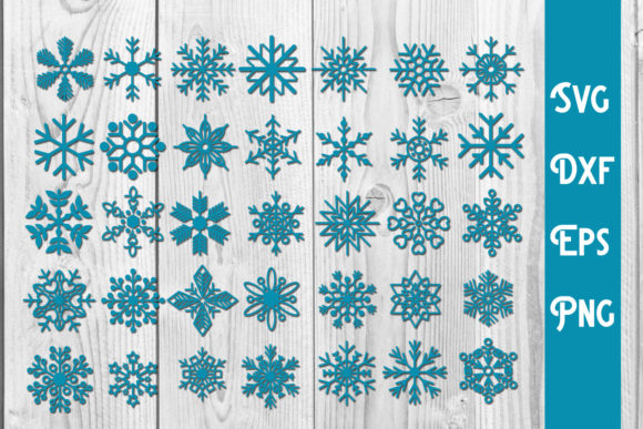 Print on Demand: Snowflake SVG, Christmas SVG, Snowflake Graphic Print Templates By dadan_pm