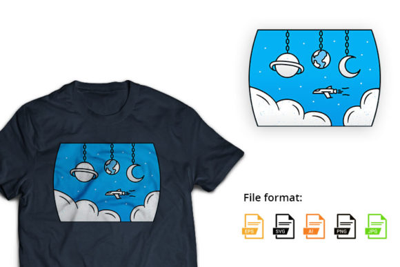 Space Rocket Adventure - Blue Sky Graphic Illustrations By hello.teeszone