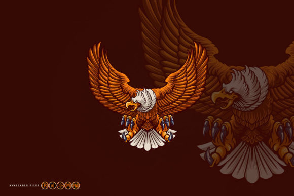 Print on Demand: Strong Eagle Flying Mascot Graphic Illustrations By artgrarisstudio