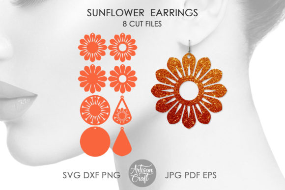 Print on Demand: Sunflower Earrings Teardrop Graphic 3D SVG By Artisan Craft SVG
