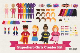 Superhero Girl Creator Kit Clipart Graphic Illustrations By peachycottoncandy