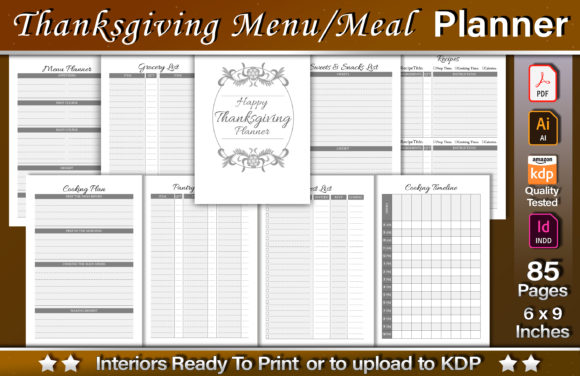 Thanksgiving Menu/Meal Planner Graphic KDP Interiors By okdecoconcept