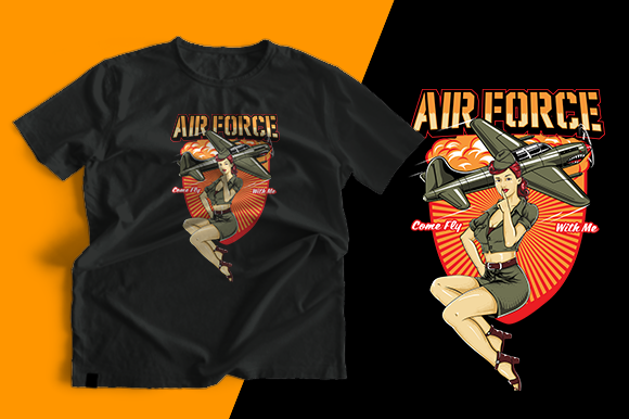 T-shirt Design - Air Force Pin Up Grafik Druck-Templates von cithu09