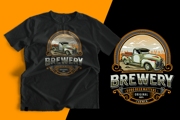T-shirt Design - Brewery Graphic Print Templates By cithu09