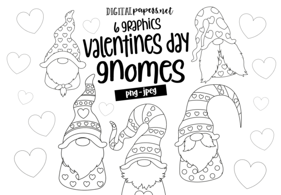 Print on Demand: Valentines Day Gnomes Outlines Graphic Illustrations By DigitalPapers