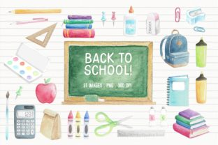 Watercolor Back to School Graphic Illustrations By peachycottoncandy