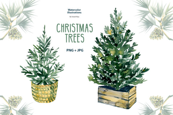 Watercolor Christmas Trees Clipart Graphic Illustrations By NataliMyaStore