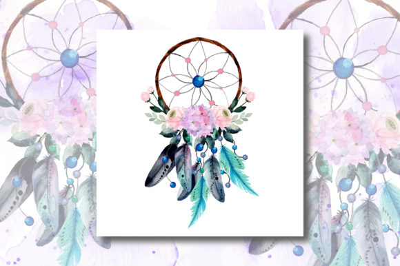 Print on Demand: Watercolor Dream Catcher with Floral 2 Graphic Illustrations By asrulaqroni