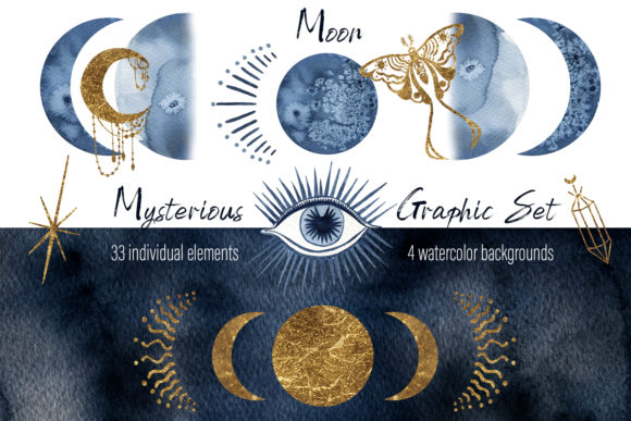 Print on Demand: Watercolor Moon Clipart Magic Mysterious Graphic Illustrations By ElenaZlataArt