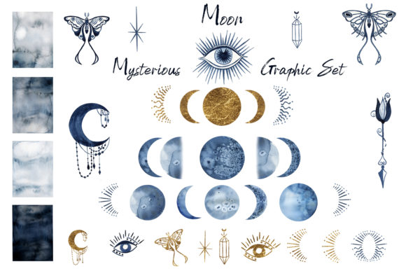 Watercolor Moon Clipart Magic Mysterious Graphic Download