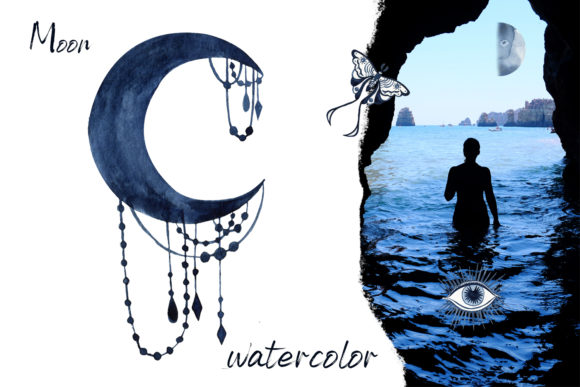 Watercolor Moon Clipart Magic Mysterious Graphic Item