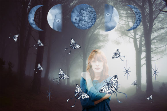 Watercolor Moon Clipart Magic Mysterious Graphic Design