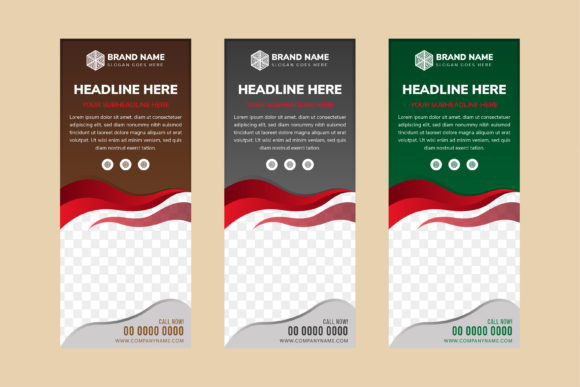 Print on Demand: Red Liquid Vertical Banner Graphic Product Mockups By noory.shopper
