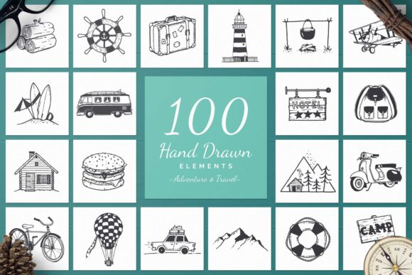 100 Hand Drawn Elements -Adventure- Graphic Illustrations By michaelrayback