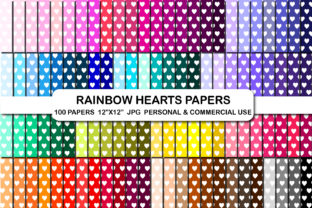 100 Hearts Pattern Digital Papers, Heart Graphic Backgrounds By bestgraphicsonline