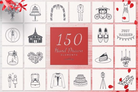 150 Hand Drawn Elements -Wedding- Graphic Illustrations By michaelrayback