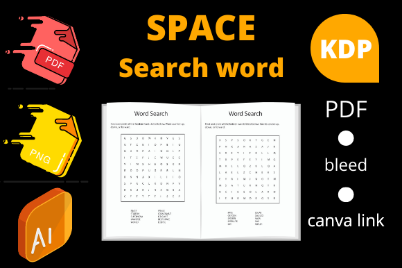 Print on Demand: 5 Word Search Kids Activity Book for KDP Graphic KDP Interiors By Dunkyshot