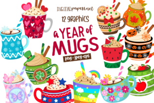 Print on Demand: A Year of Mugs Clipart Set Graphic Illustrations By DigitalPapers