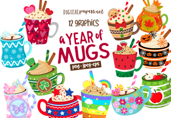 Print on Demand: A Year of Mugs Clipart Set Gráfico Ilustraciones Por DigitalPapers