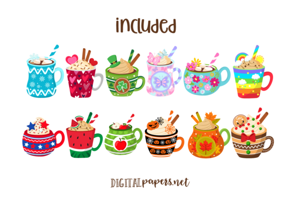 A Year of Mugs Clipart Set Graphic Download