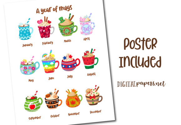 A Year of Mugs Clipart Set Graphic Item