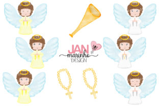 Angel Watercolor Clipart Graphic Illustrations By JanMarinhoDesign