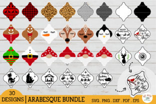 Arabesque Christmas Tile Ornament Bundle Graphic Crafts By redearth and gumtrees