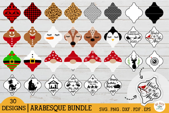 Arabesque Christmas Tile Ornament Bundle Gráfico Crafts Por redearth and gumtrees