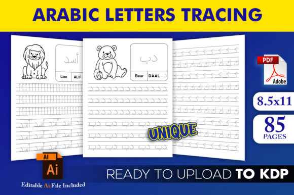 Print on Demand: Arabic Letters Tracing Book KDP Interior Graphic KDP Interiors By Beast Designer