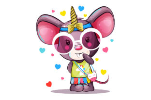 Baby Cartoon Mouse in Unicorn Costume Graphic Illustrations By rorozoagraphic