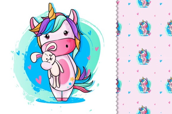 Baby Unicorn with Teddy Bear for Kids Graphic Illustrations By rorozoagraphic
