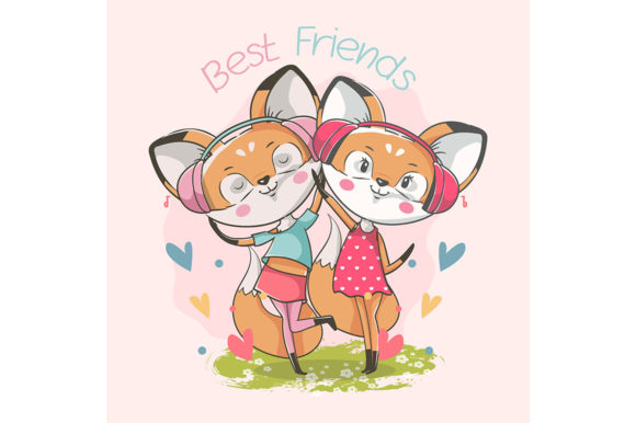 Best Friends Cute Little Fox Girl Graphic Illustrations By rorozoagraphic